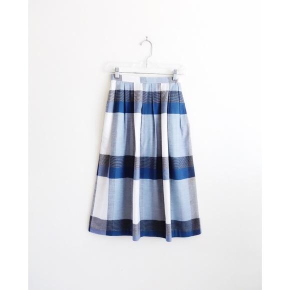 3aabce1885 Vintage Skirts | 70s Blue White Plaid Midi Skirt Est Xxs | Poshmark